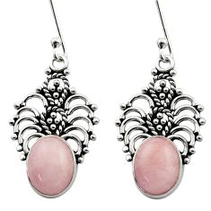Clearance Sale- 6.85cts natural pink morganite 925 sterling silver dangle earrings d40811