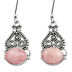 Clearance Sale- 6.72cts natural pink morganite 925 sterling silver dangle earrings d40812