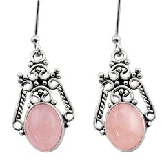 Clearance Sale- 6.50cts natural pink morganite 925 sterling silver dangle earrings d40813