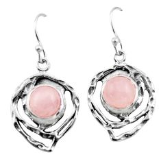 6.31cts natural pink morganite 925 sterling silver dangle earrings r42862