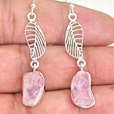 10.72cts natural pink morganite raw 925 silver deltoid leaf earrings r89866