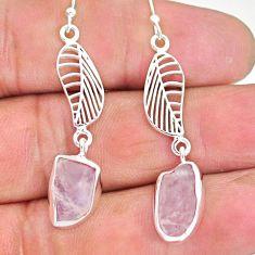 10.10cts natural pink morganite raw 925 silver deltoid leaf earrings r89869