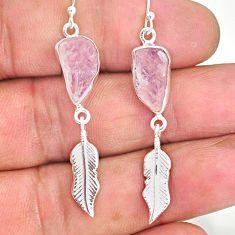 10.27cts natural pink morganite raw 925 silver deltoid leaf earrings r89870