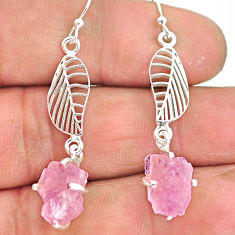 8.67cts natural pink morganite raw 925 silver deltoid leaf earrings r90730