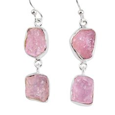 15.85cts natural pink morganite rough 925 sterling silver dangle earrings r55465