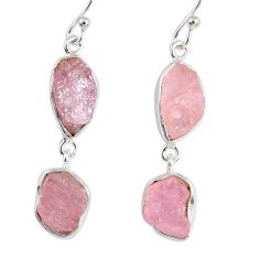 16.17cts natural pink morganite rough 925 sterling silver dangle earrings r55466