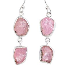 14.42cts natural pink morganite rough 925 sterling silver dangle earrings r55468