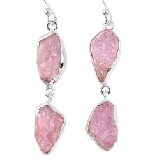 17.69cts natural pink morganite rough 925 sterling silver dangle earrings r55469