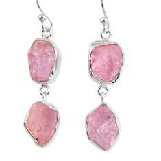 16.65cts natural pink morganite rough 925 sterling silver dangle earrings r55472