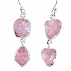 15.85cts natural pink morganite rough 925 sterling silver dangle earrings r55473