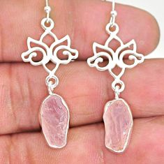 9.59cts natural pink morganite raw 925 sterling silver dangle earrings r89864