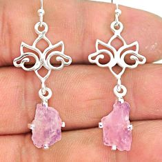 7.08cts natural pink morganite rough 925 sterling silver dangle earrings r90726