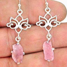 7.47cts natural pink morganite raw 925 sterling silver dangle earrings r90728