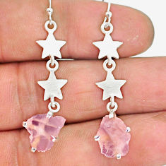 6.16cts natural pink morganite raw 925 sterling silver dangle earrings r90738