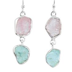 17.95cts natural pink morganite rough aquamarine rough silver earrings r55401