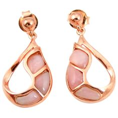 Natural pink opal 925 sterling silver 14k gold earrings jewelry c15534