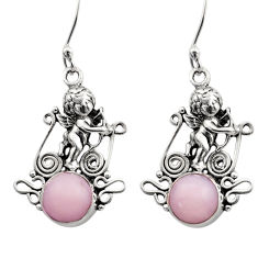 Clearance Sale- 5.53cts natural pink opal 925 sterling silver angel earrings jewelry d40776