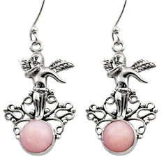 Clearance Sale- 5.52cts natural pink opal 925 sterling silver angel earrings jewelry d40777
