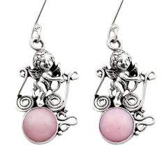 5.07cts natural pink opal 925 sterling silver angel earrings jewelry d40779
