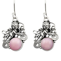 Clearance Sale- 5.93cts natural pink opal 925 sterling silver angel wings fairy earrings d40773