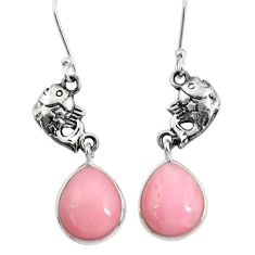 Clearance Sale- 12.58cts natural pink opal 925 sterling silver fish earrings jewelry d40470