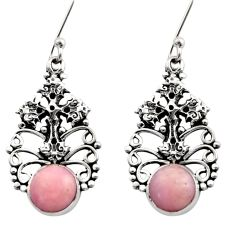 5.92cts natural pink opal 925 sterling silver holy cross earrings jewelry d40780