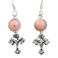 5.54cts natural pink opal 925 sterling silver holy cross earrings jewelry d46761