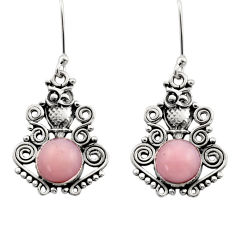5.28cts natural pink opal 925 sterling silver owl earrings jewelry d40770