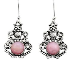 5.52cts natural pink opal 925 sterling silver owl earrings jewelry d40772