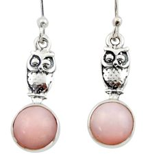 4.30cts natural pink opal 925 sterling silver owl earrings jewelry d46762