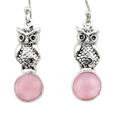5.36cts natural pink opal 925 sterling silver owl earrings jewelry d46763