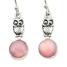 4.29cts natural pink opal 925 sterling silver owl earrings jewelry d46765