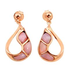 Natural pink opal 925 sterling silver 14k rose gold dangle earrings c15540