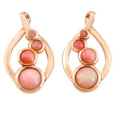Natural pink opal 925 sterling silver 14k rose gold dangle earrings c15532