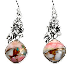 10.24cts natural pink opal in turquoise 925 silver angel earrings r50971