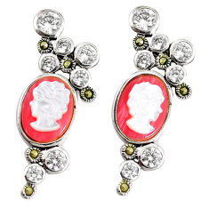 15.17cts natural pink opal pearl lady face 925 silver earrings jewelry c21455