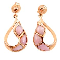 Natural pink opal 925 sterling silver 14k rose gold dangle earrings c15537