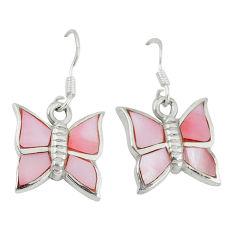 5.25gms natural pink pearl enamel 925 silver butterfly earrings a46378 c14227