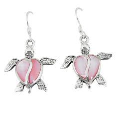 6.26gms natural pink pearl enamel 925 silver tortoise earrings a46340 c14254