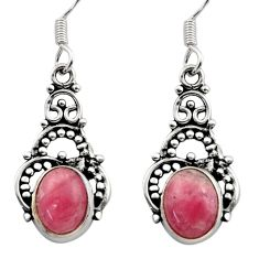 Clearance Sale- 5.84cts natural pink rhodochrosite inca rose 925 silver dangle earrings d40869