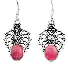 Clearance Sale- 6.33cts natural pink rhodochrosite inca rose 925 silver dangle earrings d40871