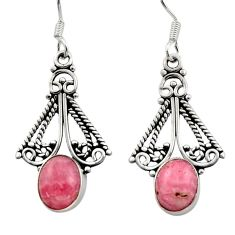 Clearance Sale- 5.84cts natural pink rhodochrosite inca rose 925 silver dangle earrings d40872