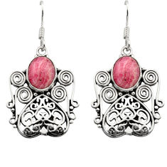 Clearance Sale- 6.57cts natural pink rhodochrosite inca rose 925 silver dangle earrings d40874