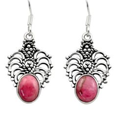 Clearance Sale- 6.72cts natural pink rhodochrosite inca rose 925 silver dangle earrings d40879