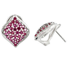 Natural pink rhodolite topaz 925 sterling silver stud earrings jewelry c20700