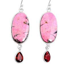 19.12cts natural pink rhodonite in black manganese 925 silver earrings r75622