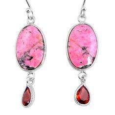 13.66cts natural pink rhodonite in black manganese 925 silver earrings r75625