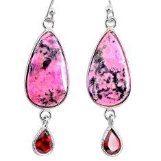 17.96cts natural pink rhodonite in black manganese 925 silver earrings r75629