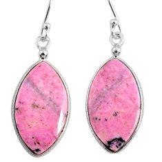 15.43cts natural pink rhodonite in black manganese 925 silver earrings r75631