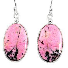 16.71cts natural pink rhodonite in black manganese 925 silver earrings r75638